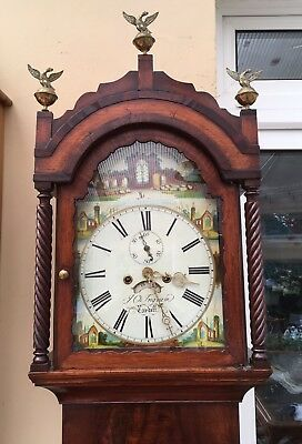 Antique Longcase Grandfather Clock By J O Ingram Cardiff. C1815 8 Day.