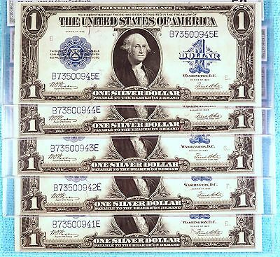 1923 AU 5-Consecutive Fr #238 $1 BE Block Large Silver Certificate Blue