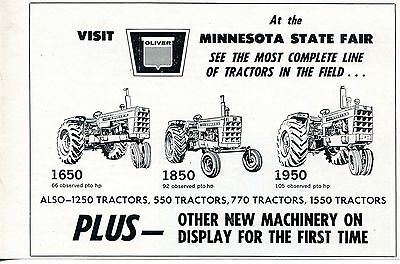 1966 Print Ad of Oliver 1650 1850 & 1950 Tractor at Minnesota State Fair
