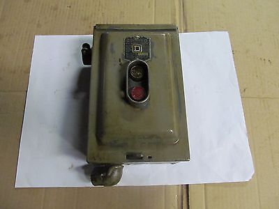 "SQUARE ""D"" Motor Starter, (ON-OFF), Switch, 3-Phase, 5 HP, Made In USA."