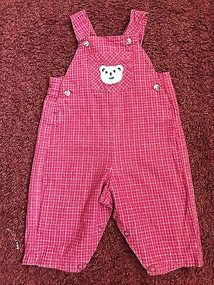 Mothercare Baby Girls Red Mix Dungarees For Age 3 - 6 Months VGC