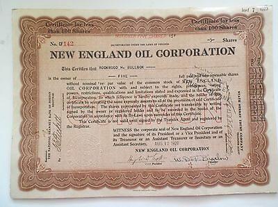 New England Oil Corporation Stock Certificate 1920 1921