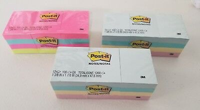 "Post It Notes 1 3/8""x 1 7/8"" 12 Pads 100 Sheets/pad (Lot Of 3)"