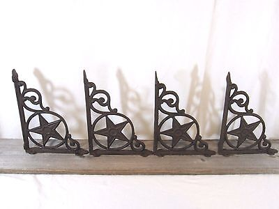 4 Rustic Wall Shelf Bracket Cast Iron Western Star Antique Hanger Brackets Porch