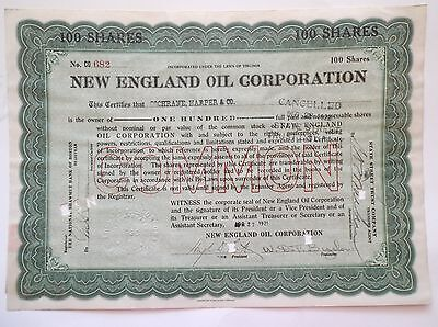New England Oil Corporation Stock Certificate 1921 Green