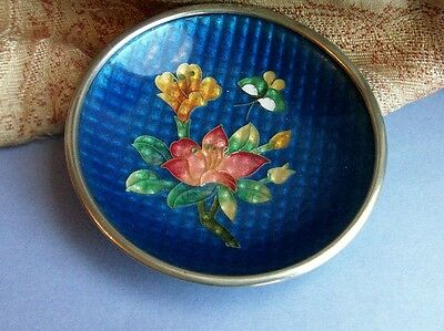 Old Vintage Antique guilloche enamel Cloisone Japanese Silver Plated Dish Japan