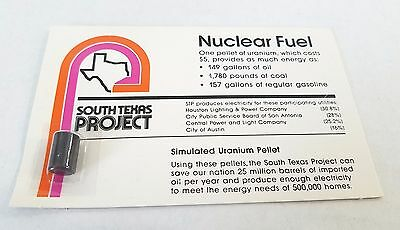 Vintage South Texas Nuclear Fuel Simulated Pellet of Uranium On Card Advertising