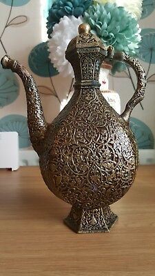 Antique Rare Islamic Mughal Indian Brass Ewer with Lac