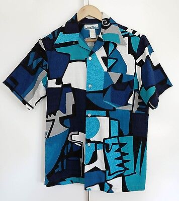 Vintage Barkcloth Tiki Hawaiian Abstract Atomic Mod shirt Medium