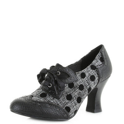 Womens Ruby Shoo Daisy Black Spot Mid Heel Lace Up Shoes Shu Size