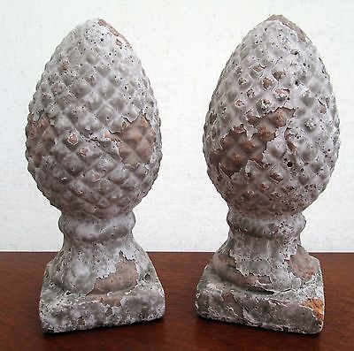 Pair Distressed French Style Painted Terracotta Acorn Style Finials Rustic Decor