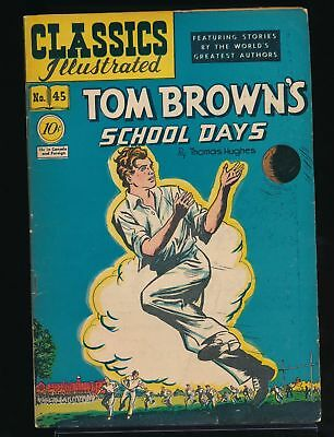 TOM BROWN'S SCHOOL DAYS 1948 Classics Illustrated Comic Book #45 (O) 1st Ed VG/F