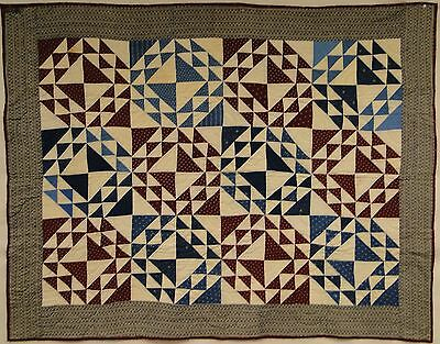 "Quilt claret/quaker gray c 1900 hand quilted 44""x57"" Excllnt"