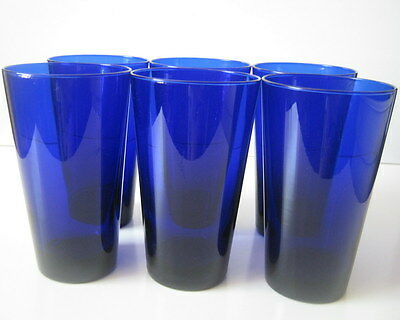 6 Libbey Cobalt Blue Tall Glasses, Collectible Glass