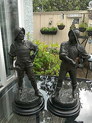 Antique Pair Of Spelter Figurines/soldiers Signed
