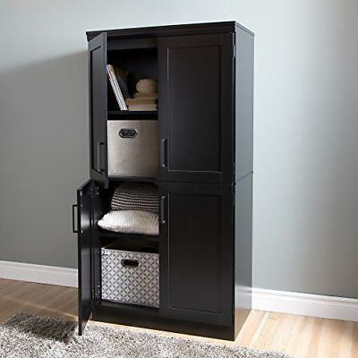 South Shore Furniture Morgan 4-Door Shaker Armoire, Pure Black