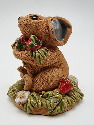 June Sears California Art Pottery Mouse With Berries 2.75in Vintage Hand Crafted