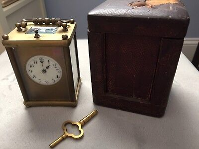 Antique French Carriage Clock with Leatherette Case & Key - Brass - Not Working