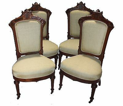Antique American Renaissance Revival Rosewood Parlor Chairs  - Set of Four