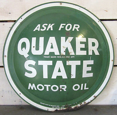 "Quaker State Motor Oil Sign - Vintage Original 24"" Button - Gas Soda Advertising"