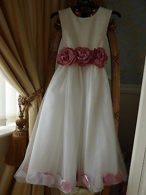 Girls Flower Petal Ivory Pink Formal Wedding Bridesmaid Party Dress Age 13 years