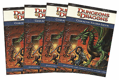 4 x Dungeons & Dragons-D&D-Character Record Sheets-Rollenspiel-RPG-d20-OVP-new