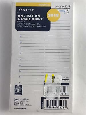 NEW FiloFax 2018 One Day On A Page Diary 18-68441 Personal Size Refill