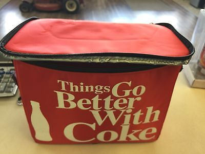 Vtg Bright  RED Insulated Zipper COCA COLA COOLER BAG Things Go Better With Coke