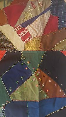 "Antique 1898 All Hand-stitched Quilt top, 72""X54"". Colorful patchwork,12 blocks"