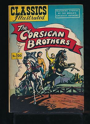 THE CORSICAN BROTHERS 1950s Classics Illustrated Comic #20 HRN 60 VG/FN