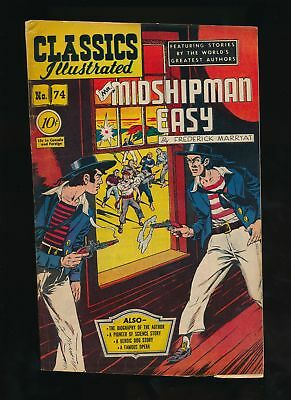 MR. MIDSHIPMAN EASY 1950 Classics Illustrated Comic #74 (O) 1st & Only Ed VG/F