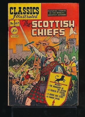 THE SCOTTISH CHIEFS 1950 Classics Illustrated Comic Book #67 (O) 1st Ed VG/F