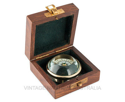 Vintage Nautical Compass Brass Curve Glass Compass Pocket Size Wooden Gift Box