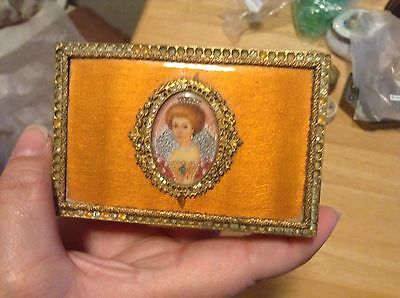 Portrait handpainted guilloche enamel trinket jewelry box signed
