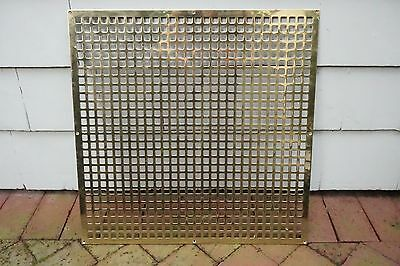 "Vintage BRASS Wall Floor Grate Large 22"" x 22""  Vent Heavy Weighs 9 3/4 lbs"