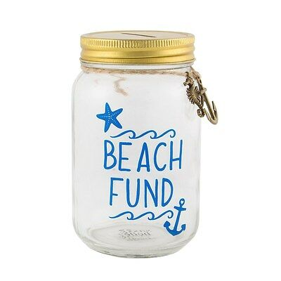 Beach Fund Glass Savings Jar Piggy Bank Money Box Coin Jar Pot Holiday