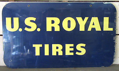US Royal Tires - Vintage 1958 Double Sided Metal Sign - 33x19 Tire Gas Oil RARE