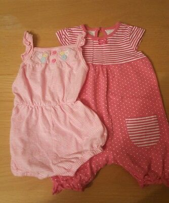 2 pink babygirl rompers size 3-6 months