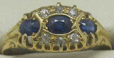 Solid 18Ct Yellow Gold Natural Diamond & Sapphire Dress Ring
