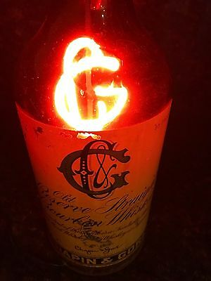 "Chapin & Gore 24"" Glass Neon Light Bottle Old Reserve Whiskey ""very Rare"""