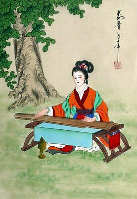 """Chinese painting on silk beauty girl lady 15x11"""" hand painted traditional art"""