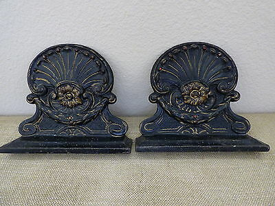 Vintage Victorian Painted Cast Iron Bookends Scalloped Shell Floral Design