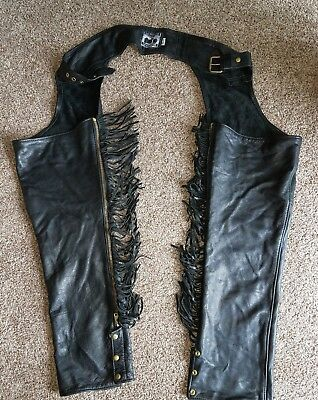 California Creations Black Leather Motorcycle CHAPS Size M USA WOMENS
