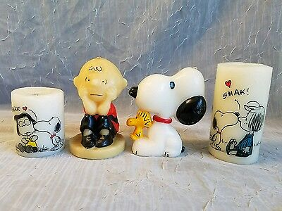4 Vintage Snoopy With Woodstock Charlie Brown & Gang  Candles