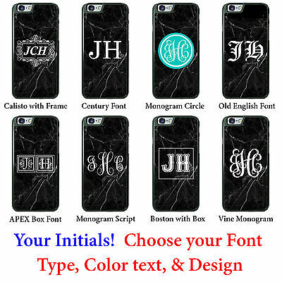 Custom Black Marble phone case Personalized Initials Monogram for Samsung HTC LG
