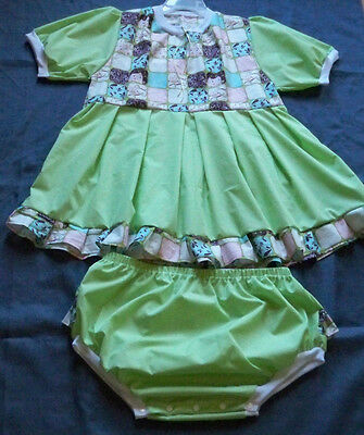 "ADULT 40"" Pastel Green, Cotton Dress, & Panties,  By  KT"