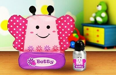 Personalised Kids Butterfly Animal Backpack and drink bottle for daycare