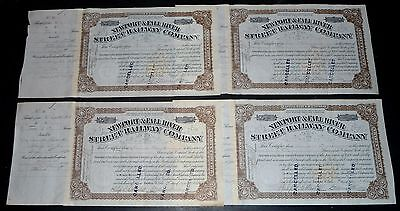 1898 Newport Rhode Island Street Railway Stock Certificate 4 lot- Revenue Stamps