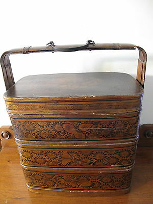 Old Chinese Bamboo Lunch Box Stackable Baskets