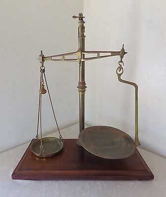 """Antique W T Avery balance weight scale apothecary 28"""" brass wood 1800s local PU"""